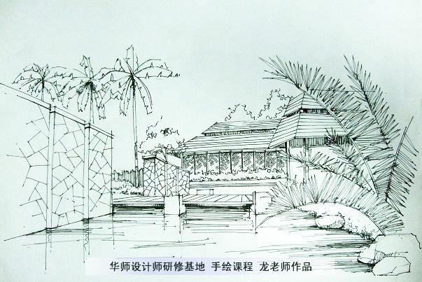 学校景观手绘线稿